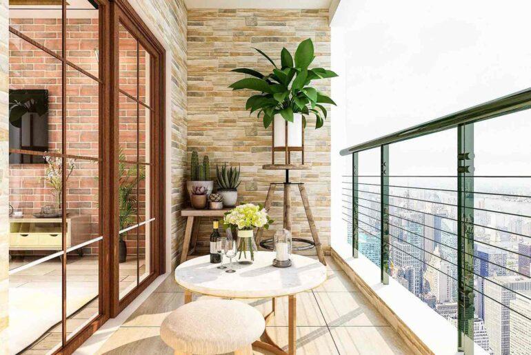 Balcón departamento plantas